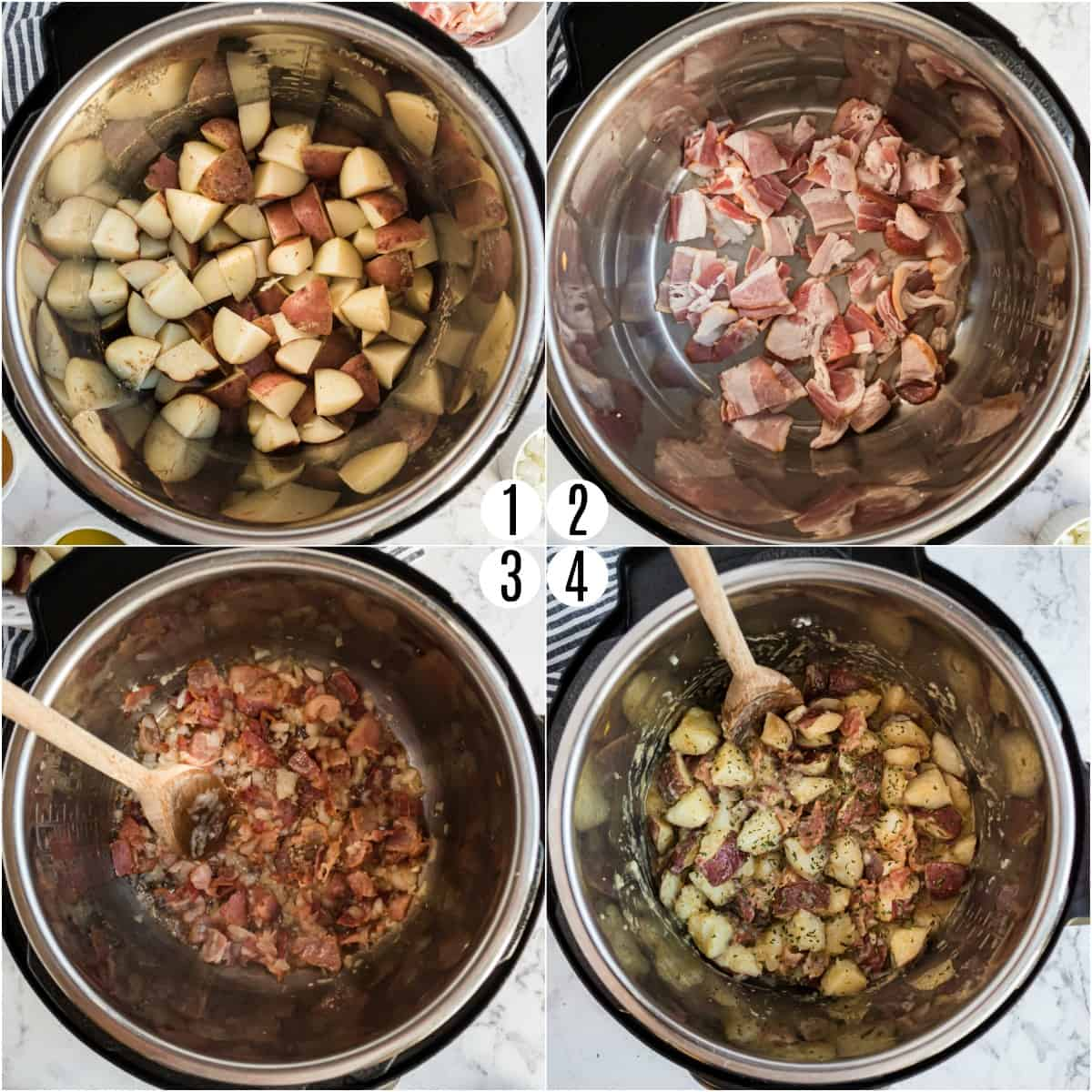 Step by step photos showing how to make Instant Pot German Potato Salad.