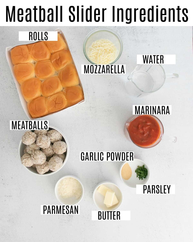 Meatball slider ingredients.