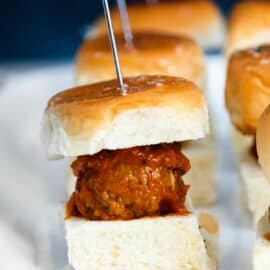 Saucy meatball on a slider bun.