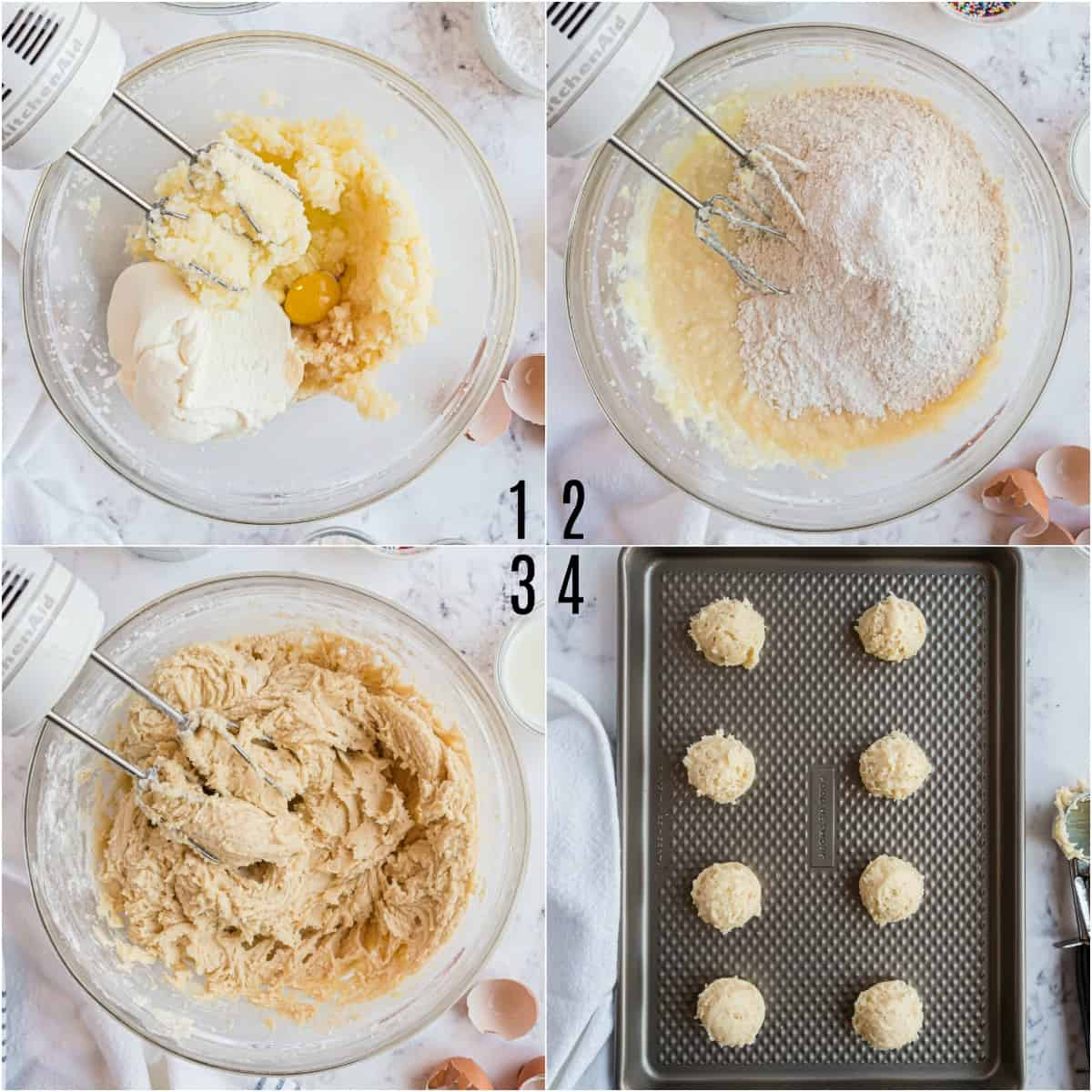 Step by step photos showing how to bake Italian ricotta cookies.