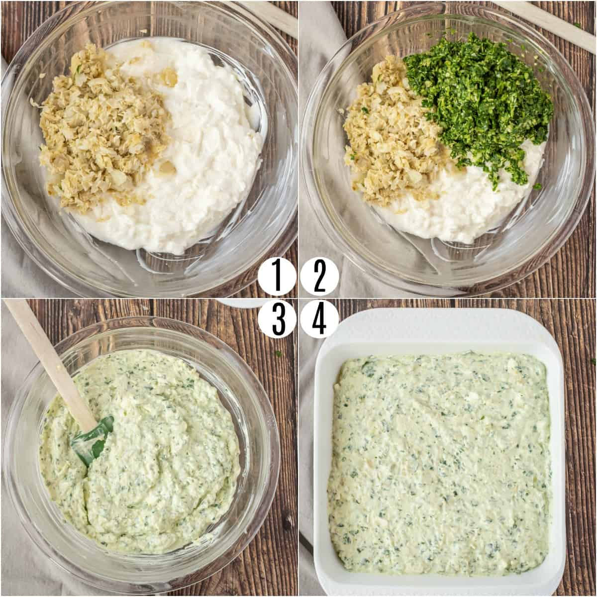 Step by step photos showing how to make spinach artichoke dip.