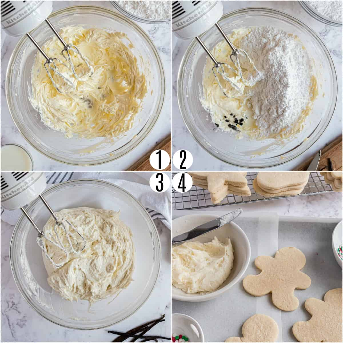 Step by step photos showing how to make vanilla bean frosting.