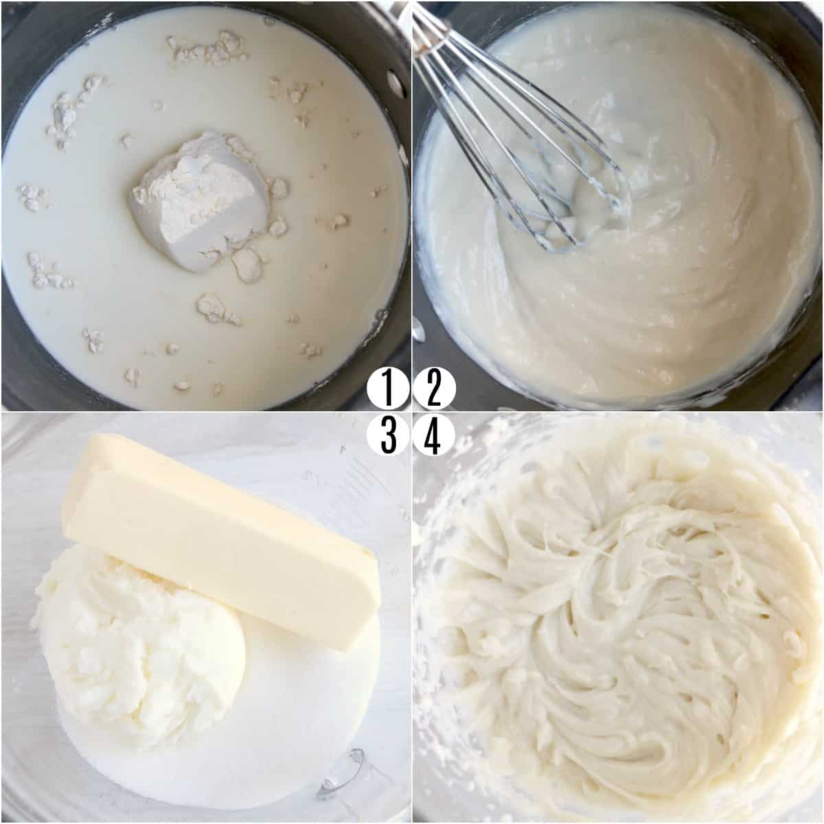 Step by step photos showing how to make whoopie pie filling.