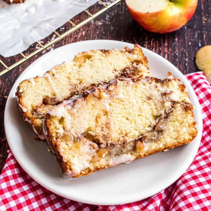 Apple bread with swirls of cinnamon.