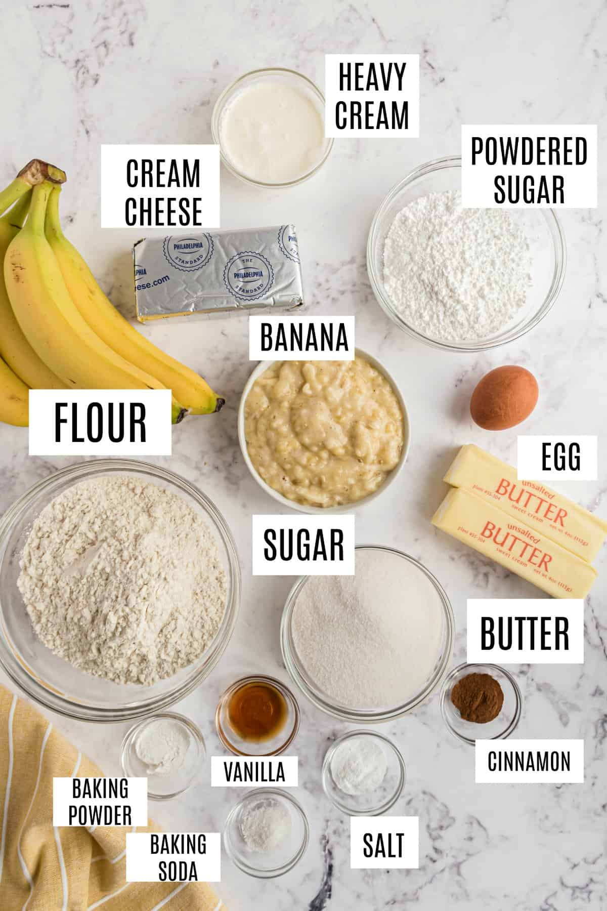 Ingredients needed for homemade banana cake with cream cheese frosting.