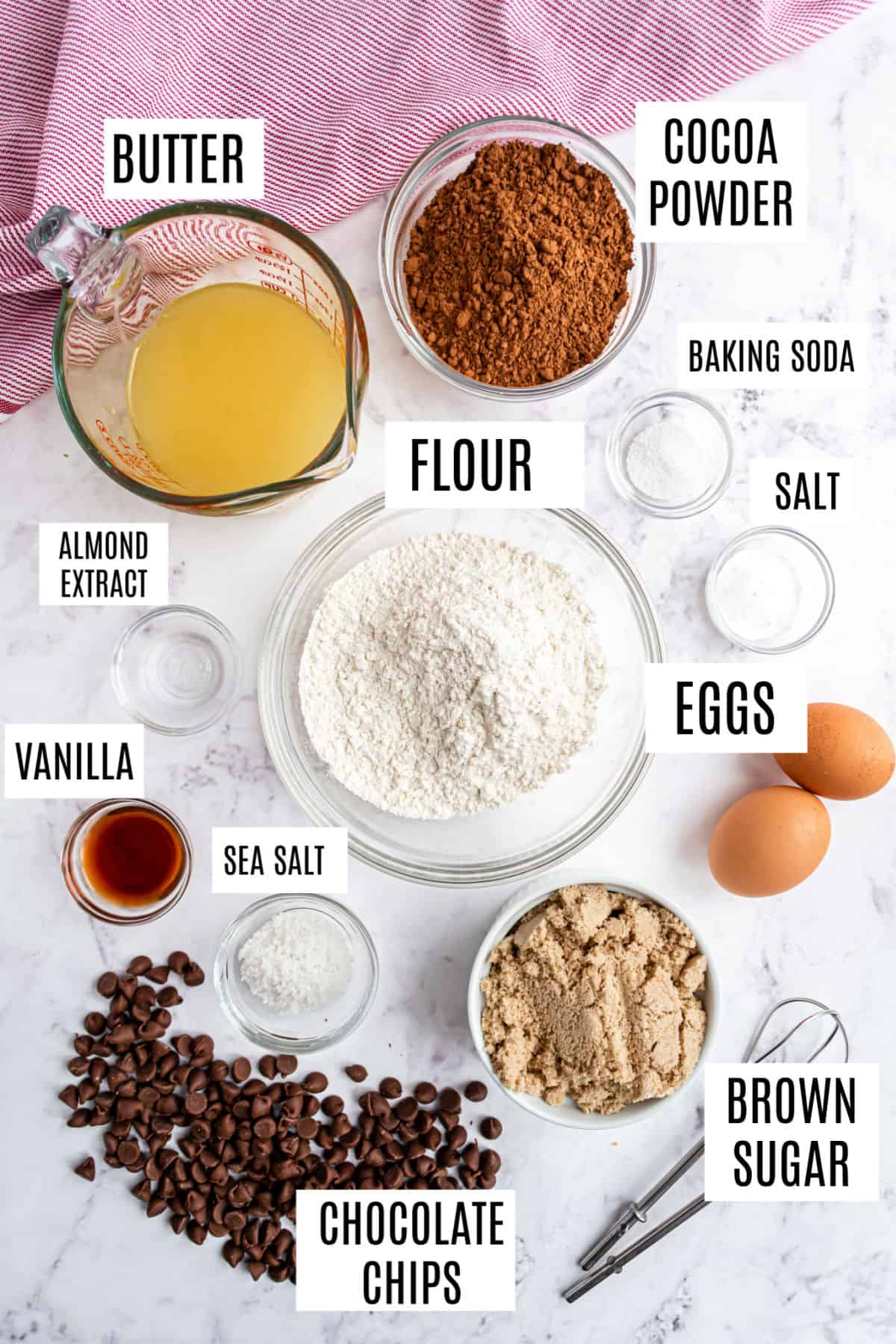 Ingredients needed to make chocolate chocolate chip cookies.