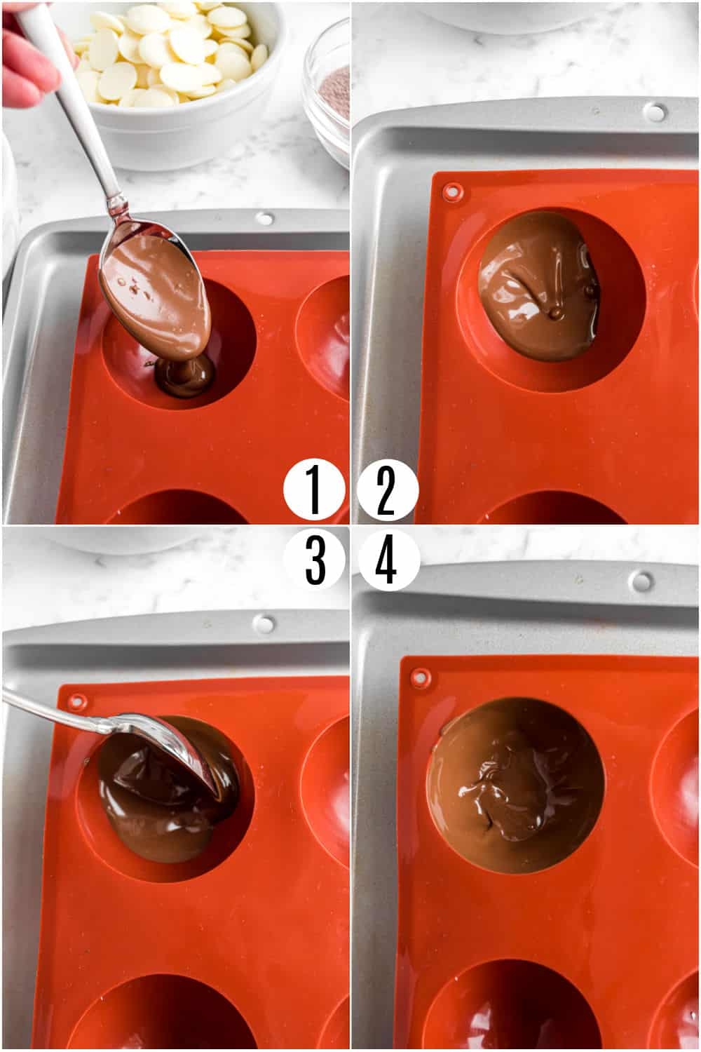Step by step photos showing how to add melted chocolate to hot cocoa molds.