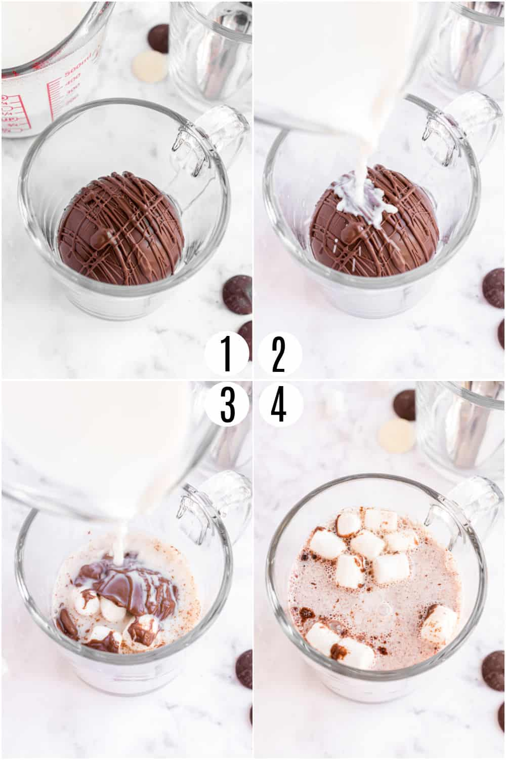 Step by step photos showing how to add warm milk to hot cocoa bombs.
