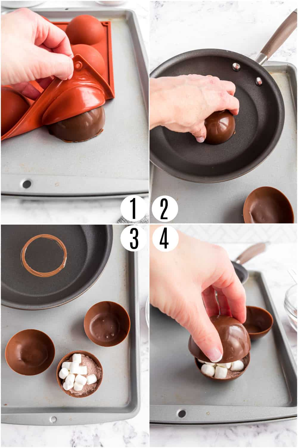 Step by step photos showing how to fill and seal hot chocolate bombs.
