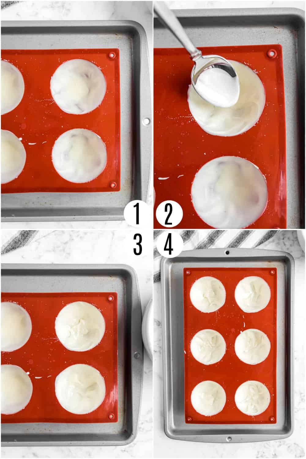 Step by step photos showing how to add melted white chocolate to hot cocoa mold.