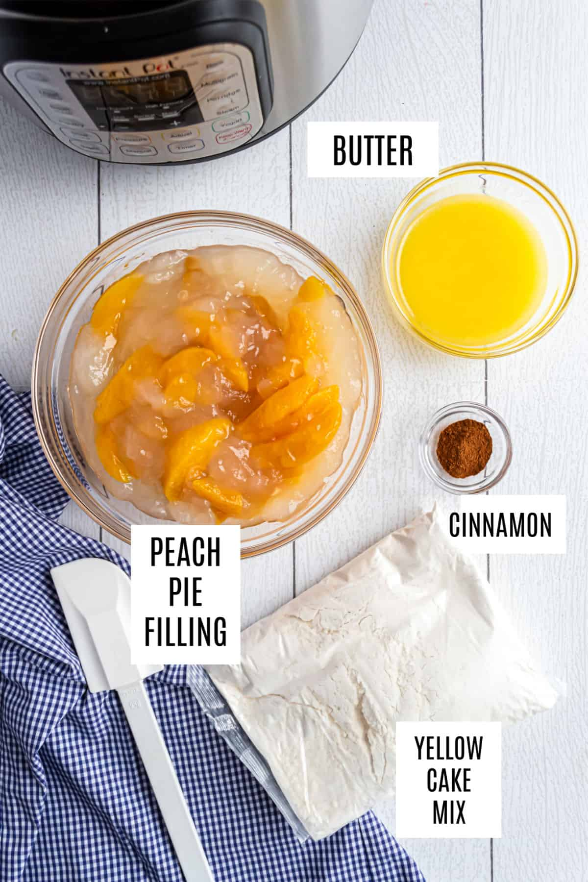 Only four ingredients needed to make Instant Pot peach cobbler, including cake mix.