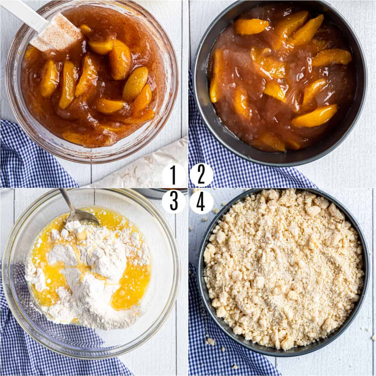 Step by step photos showing how to make peach cobbler in the Instant Pot.