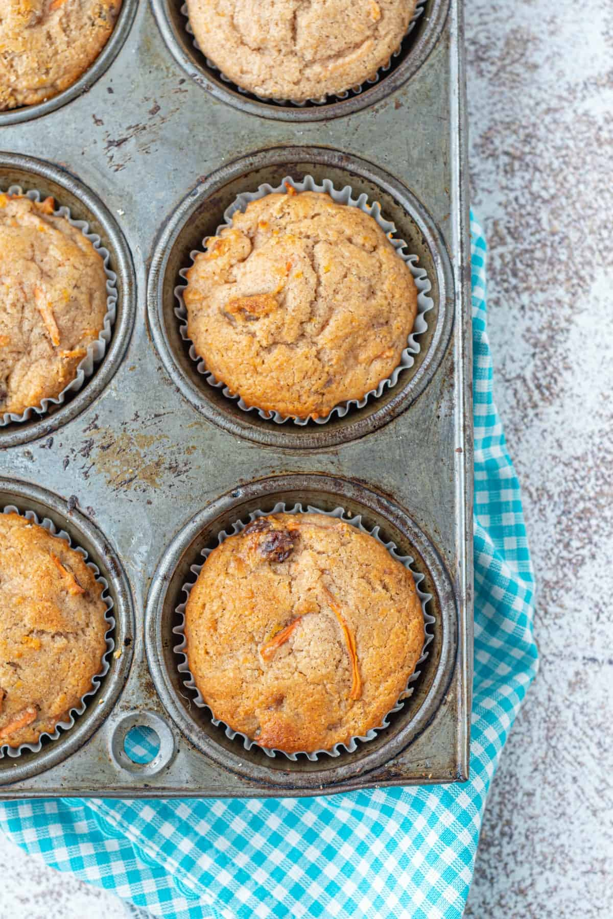 Morning glory muffins in a cupcake tin.