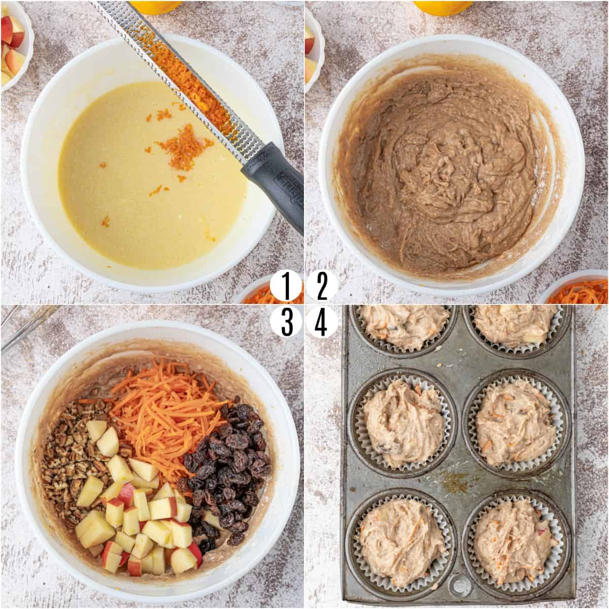 Step by step photos showing how to make morning glory muffins.