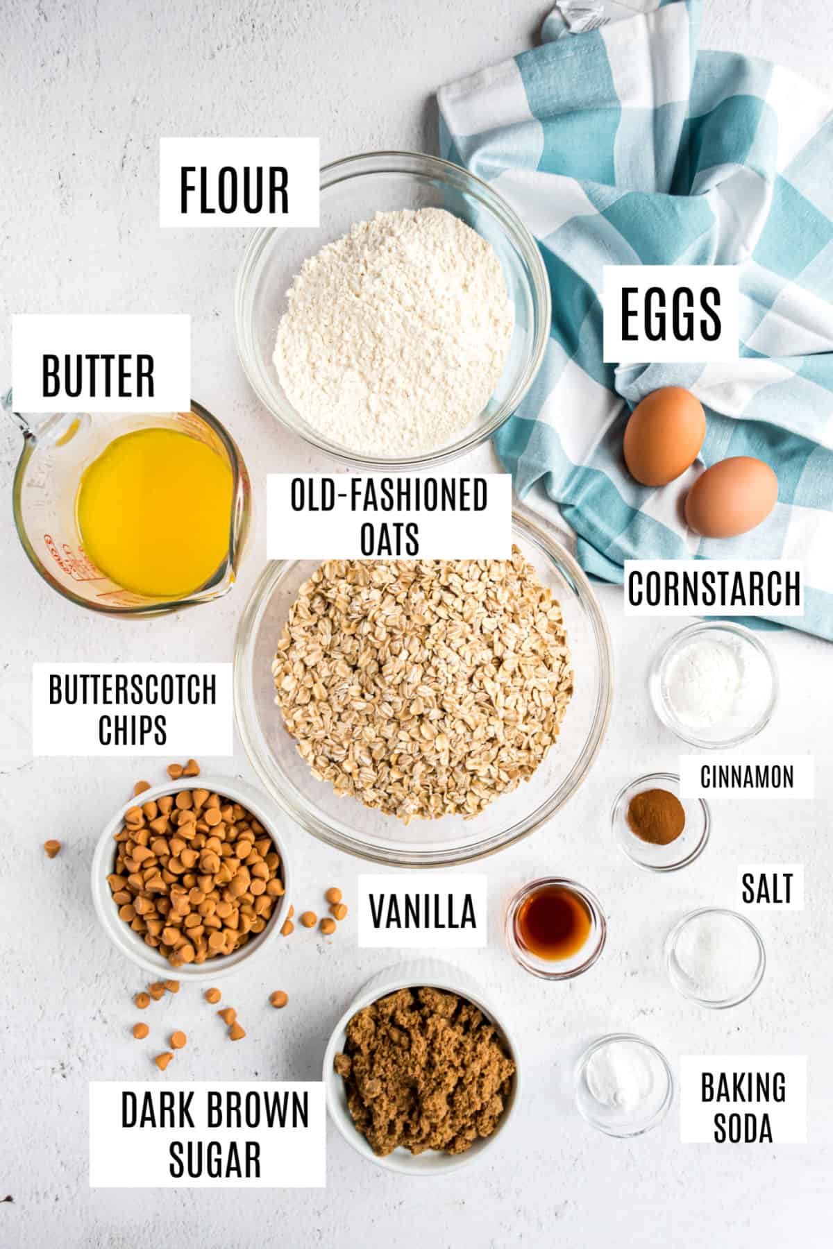Ingredients needed to make butterscotch oatmeal cookies.