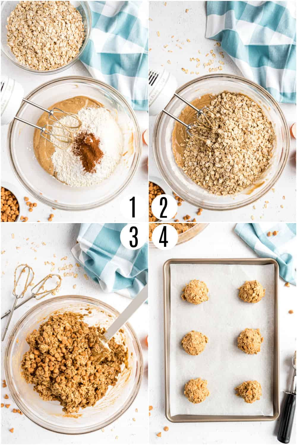 Step by step photos showing how to make oatmeal scotchies.
