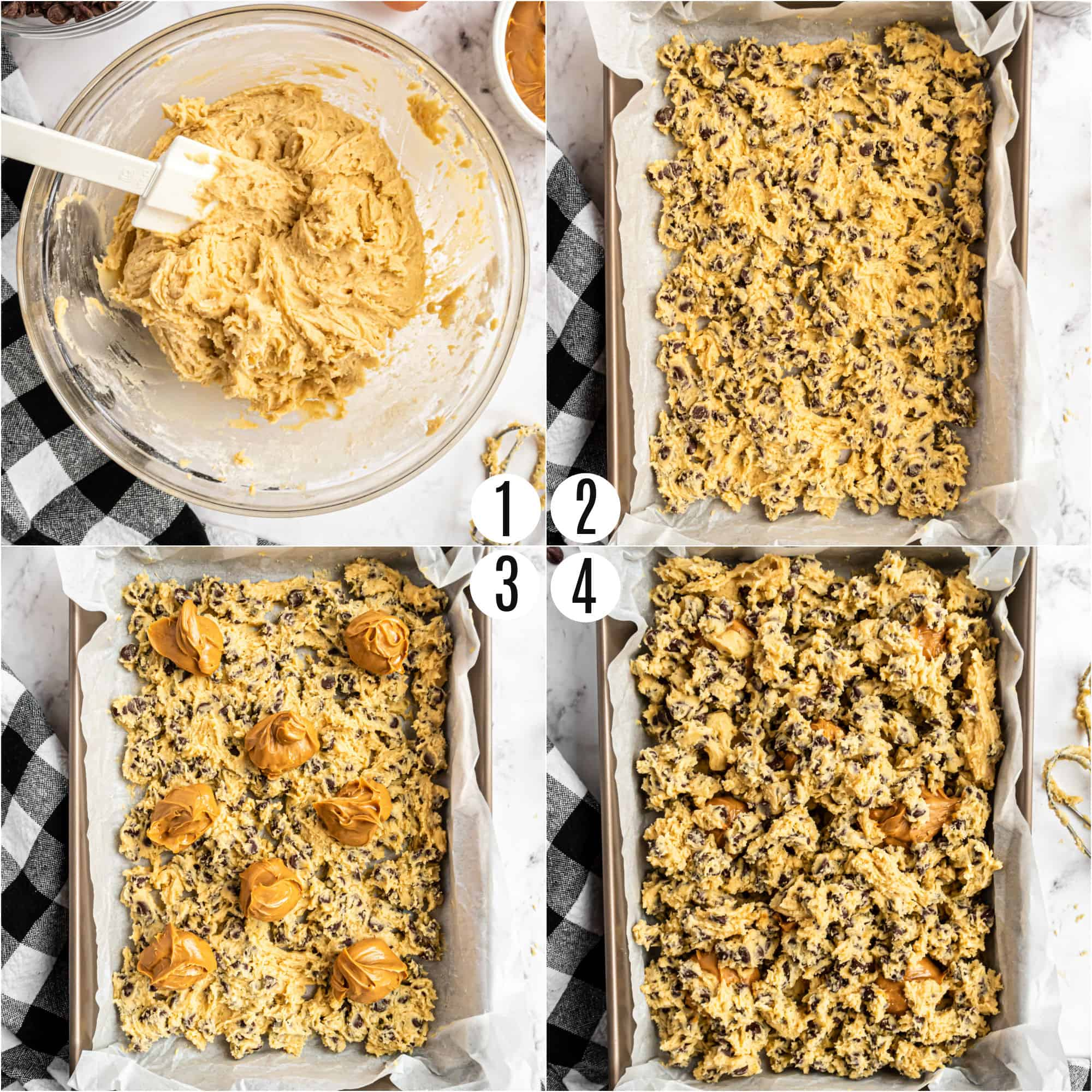 Step by step photos showing how to make peanut butter swirled chocolate chip cookie bars.