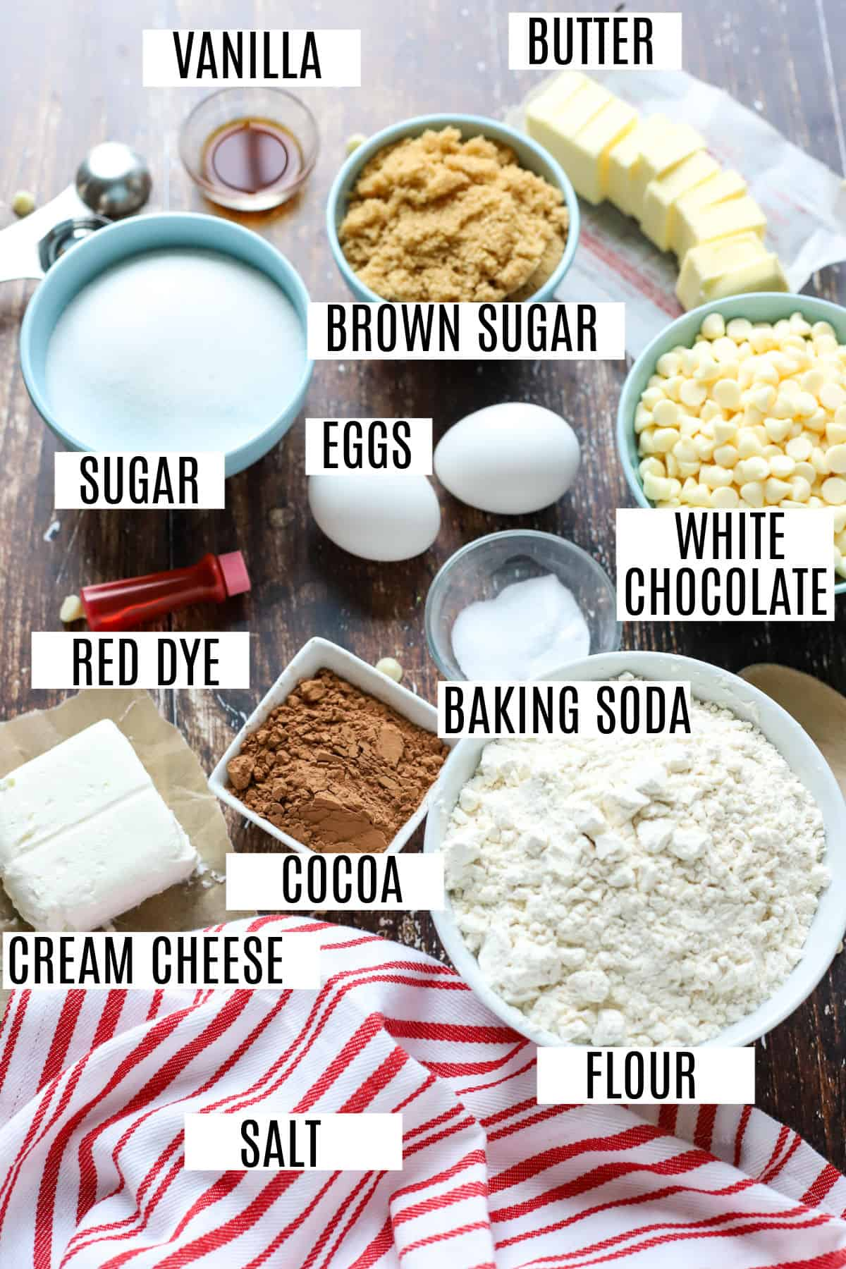 Ingredients needed to make red velvet cookies.