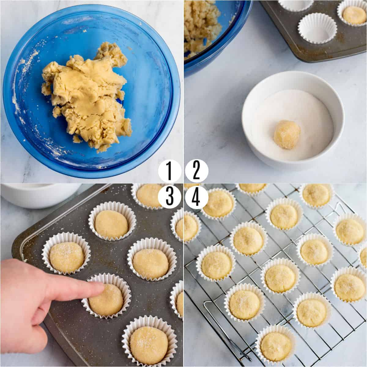 Step by step photos showing how to make frosted sugar cookie bites.