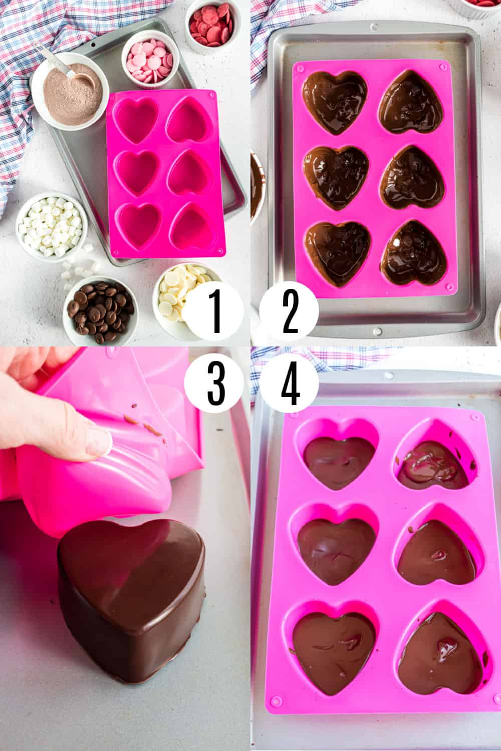 Ingredients, tools, and step to make heart shaped hot cocoa bombs.