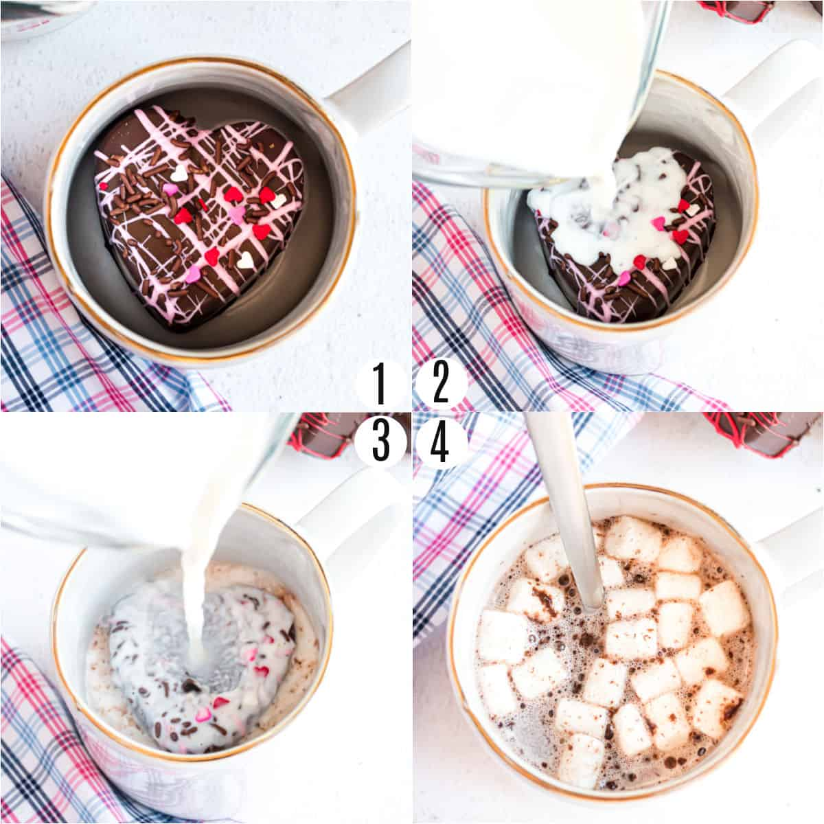 Step by step photos showing how to serve hot cocoa bombs for Valentine's Day.