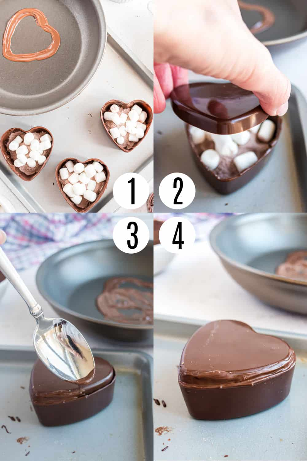 Step by step photos showing how to fill heart shaped hot cocoa molds.