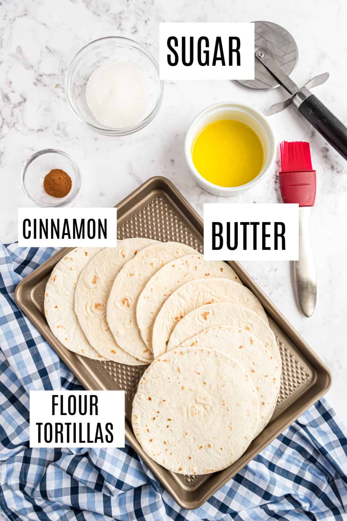 Ingredients needed to make homemade cinnamon sugar tortilla chips.