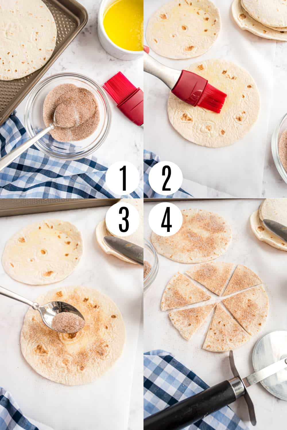 Step by step photos showing how to make baked cinnamon sugar tortilla chips.