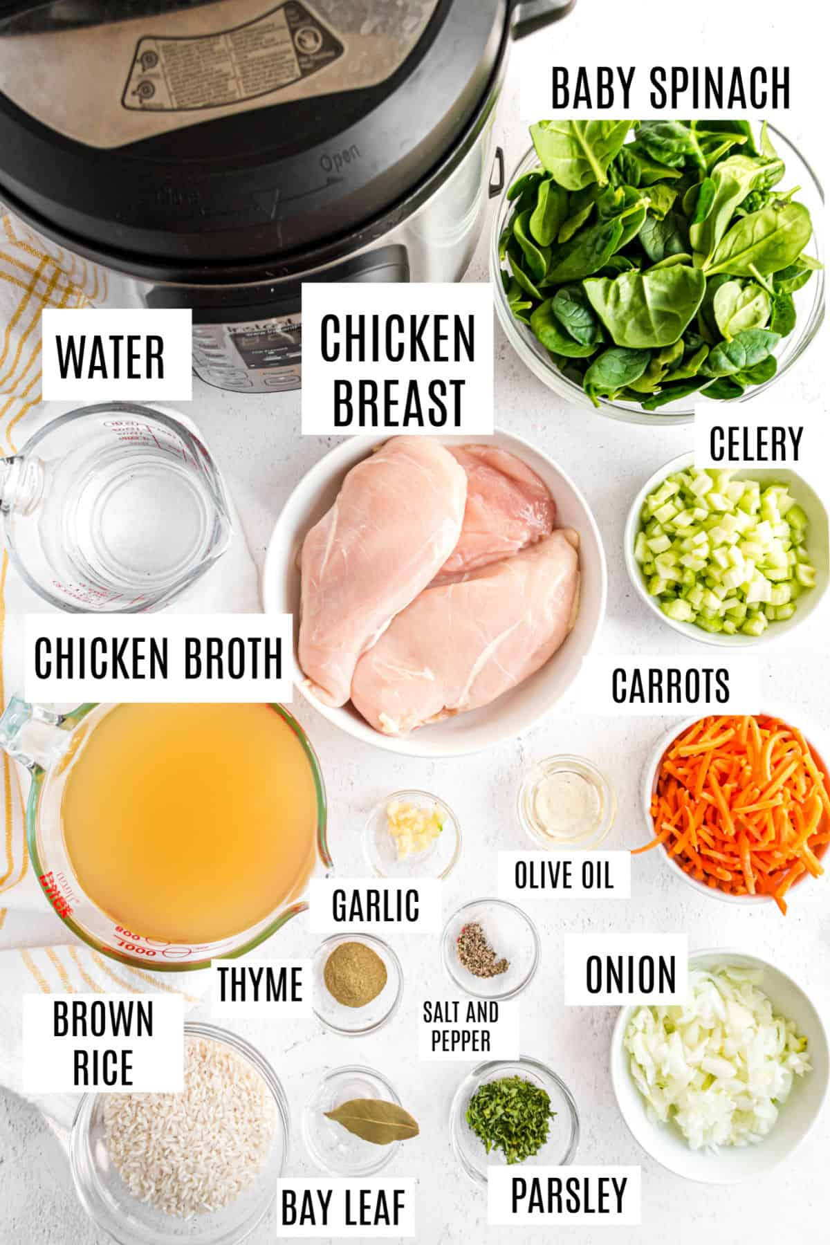 Ingredients needed for instant pot chicken and rice soup.