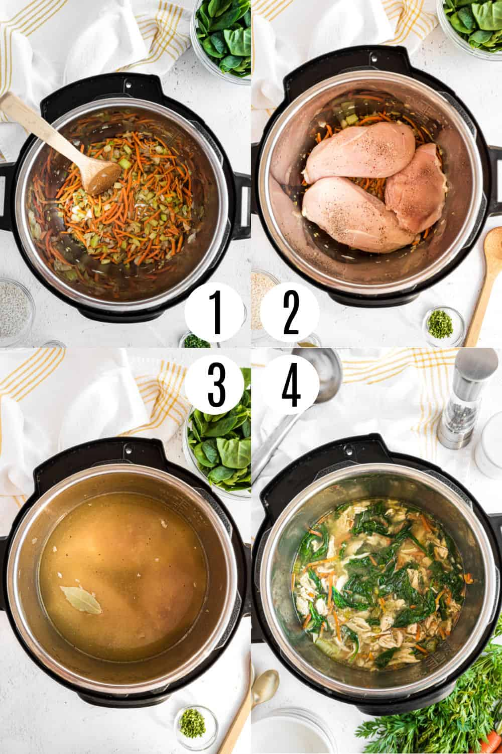 Step by step photos showing how to make instant pot chicken and rice soup.