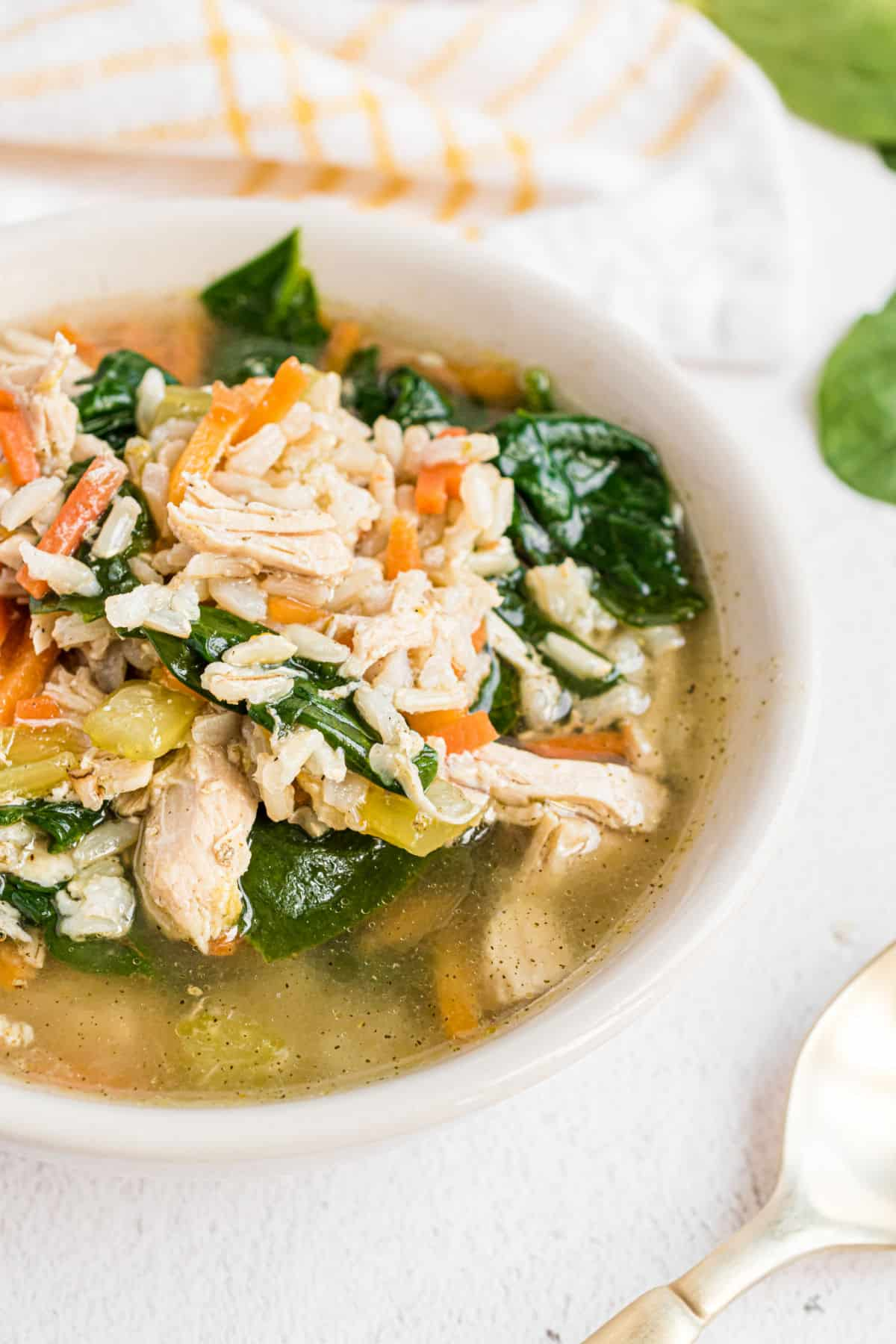 Chicken and rice soup in a serving bowl.