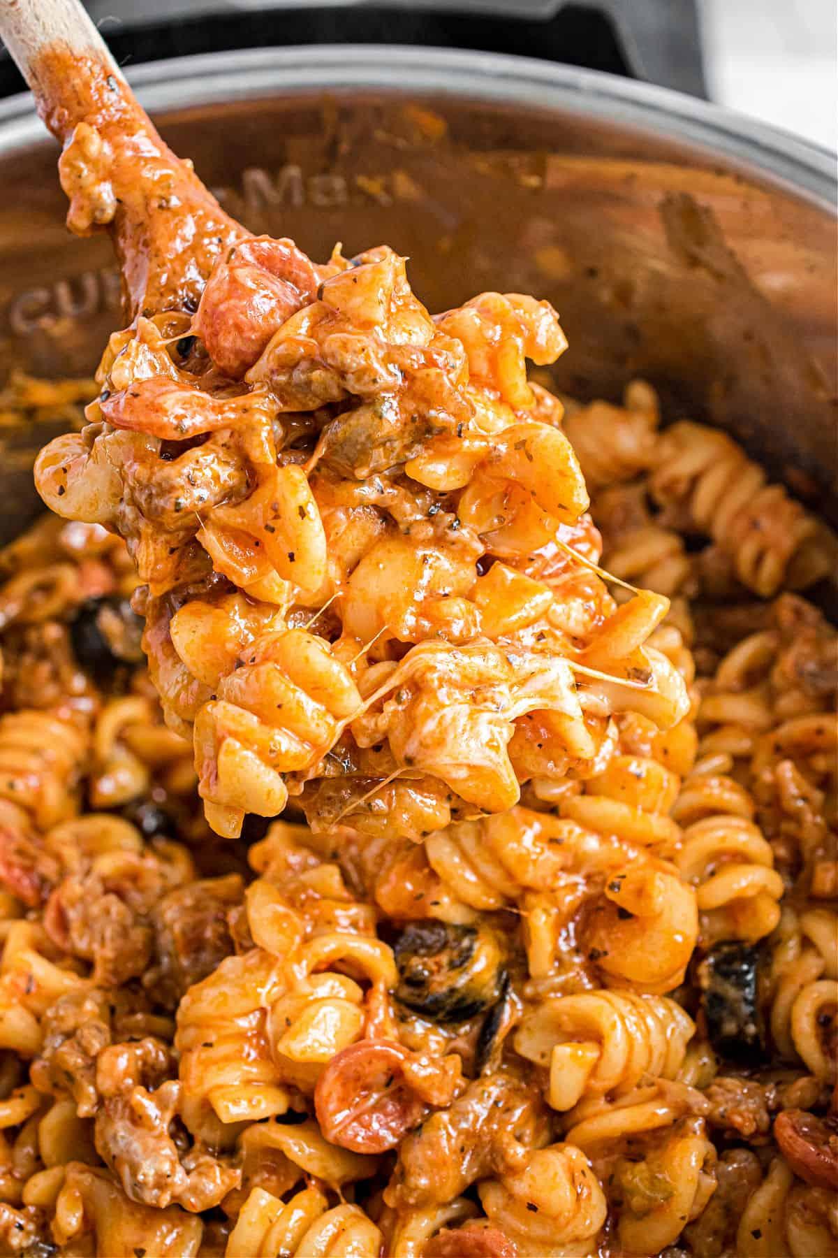 Cheesy pizza pasta casserole in the Instant Pot.