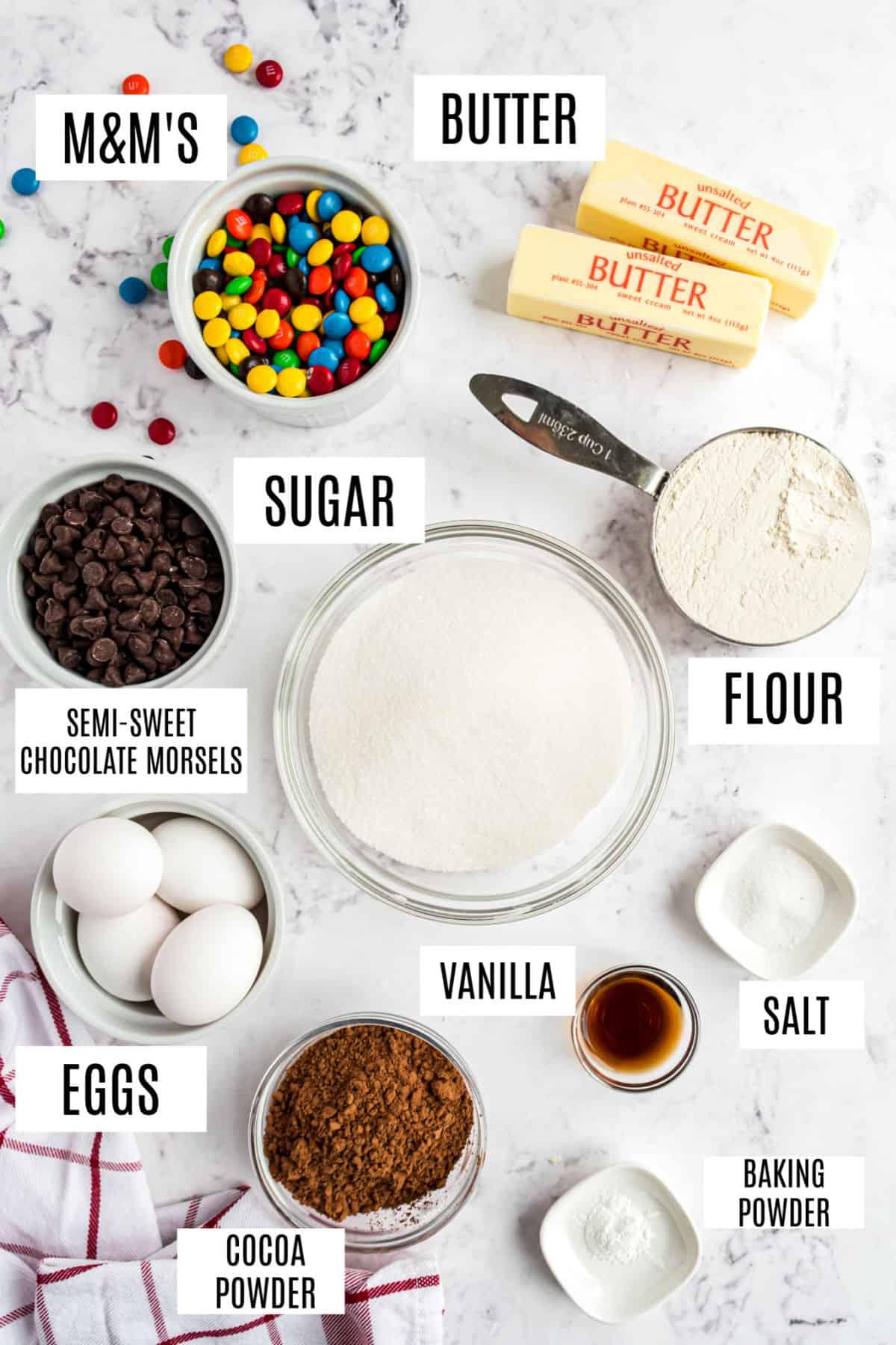 Ingredients needed for M&M's brownies.