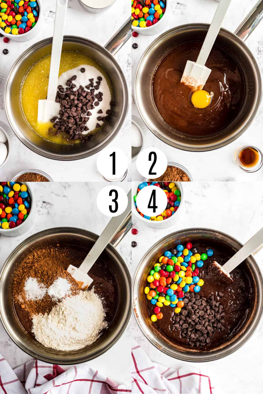 Step by step photos showing how to make chocolate M&M brownies.