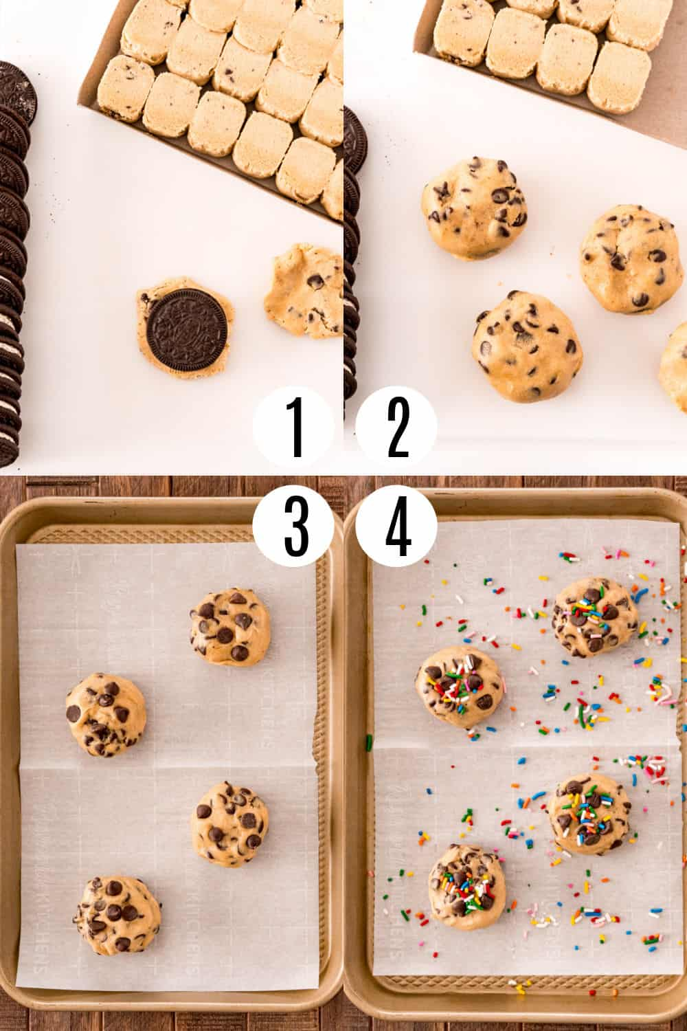 Step by step photos showing how to make Oreo stuffed cookies.