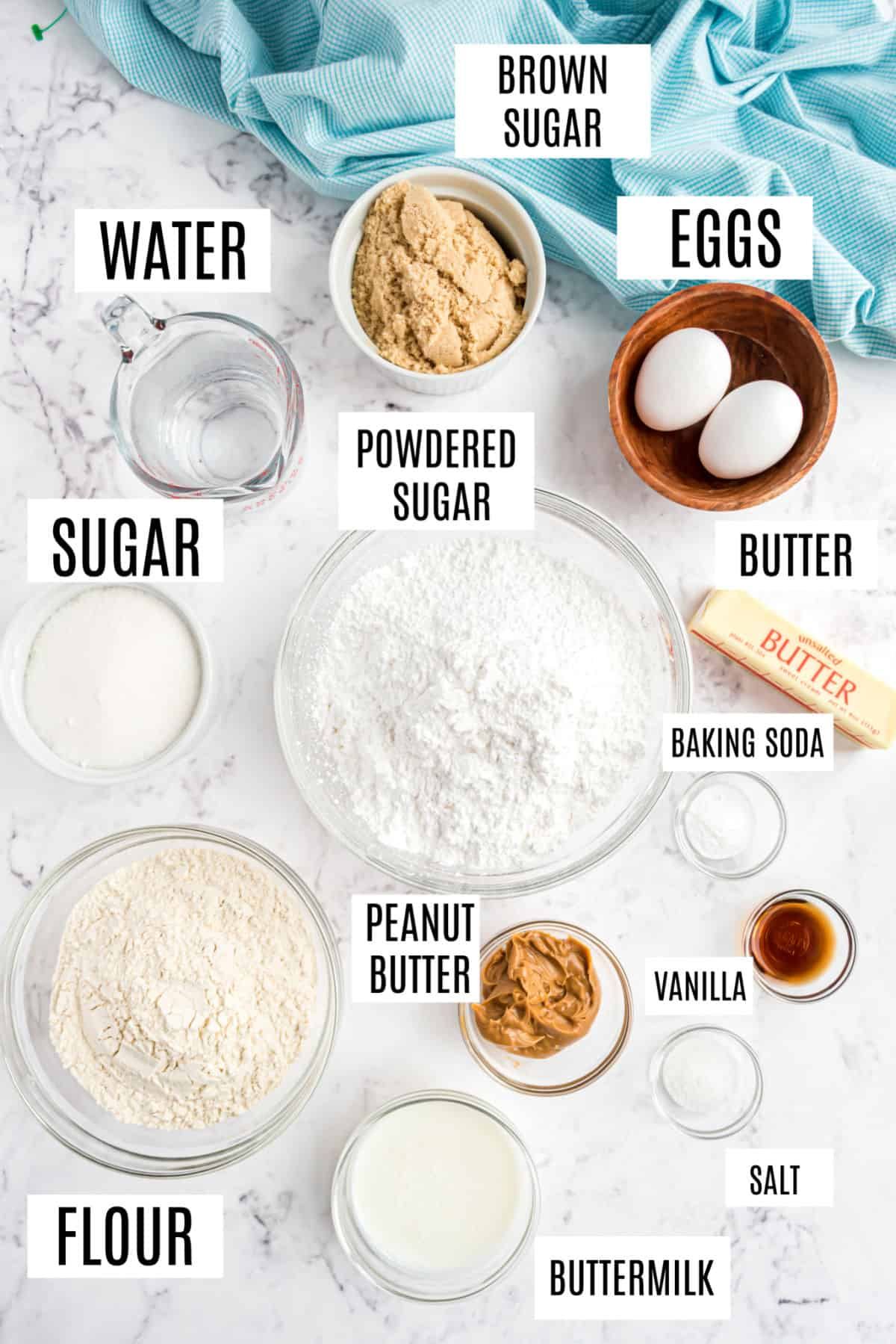 Ingredients needed for peanut butter sheet cake.