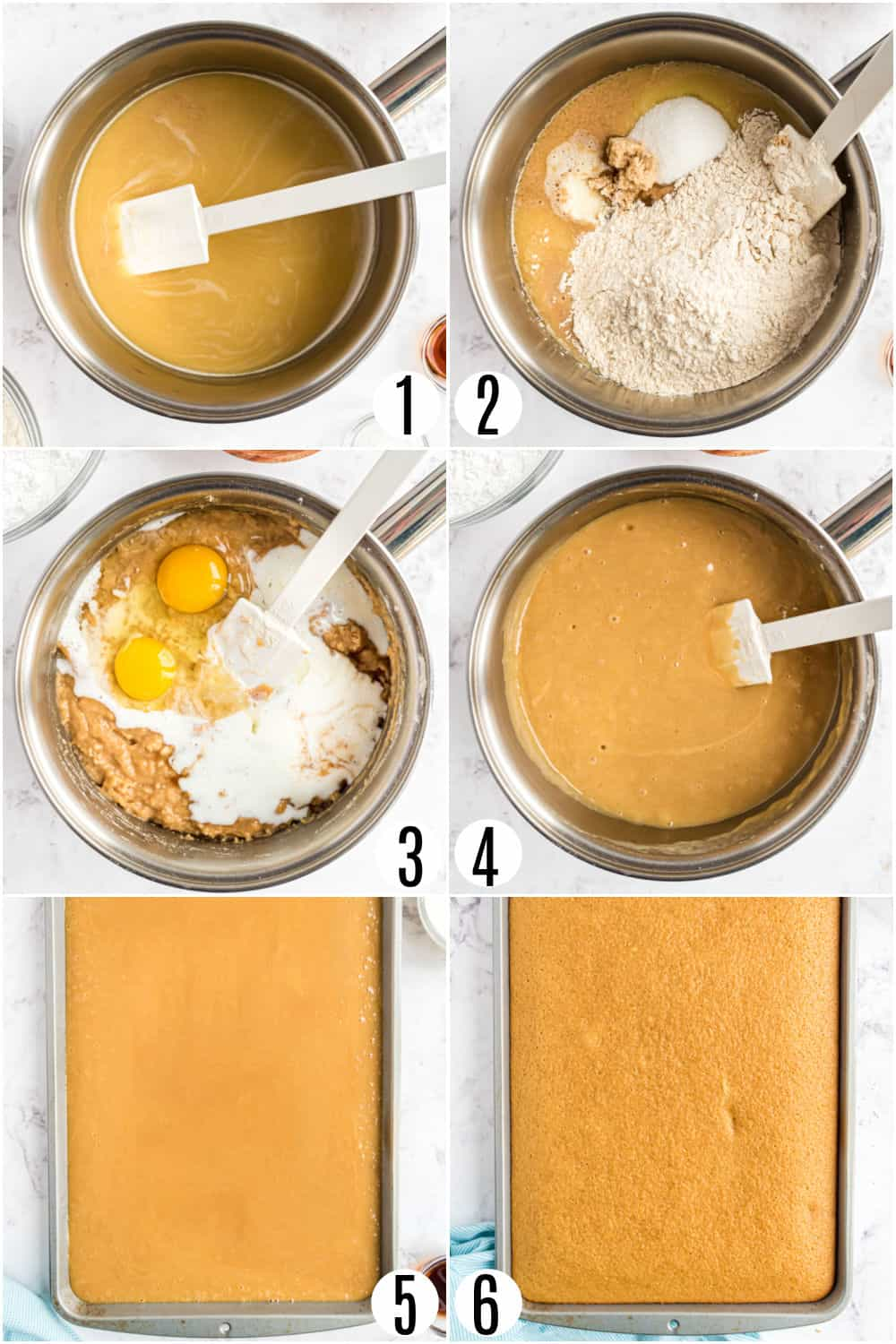 Step by step photos showing how to make peanut butter cake.