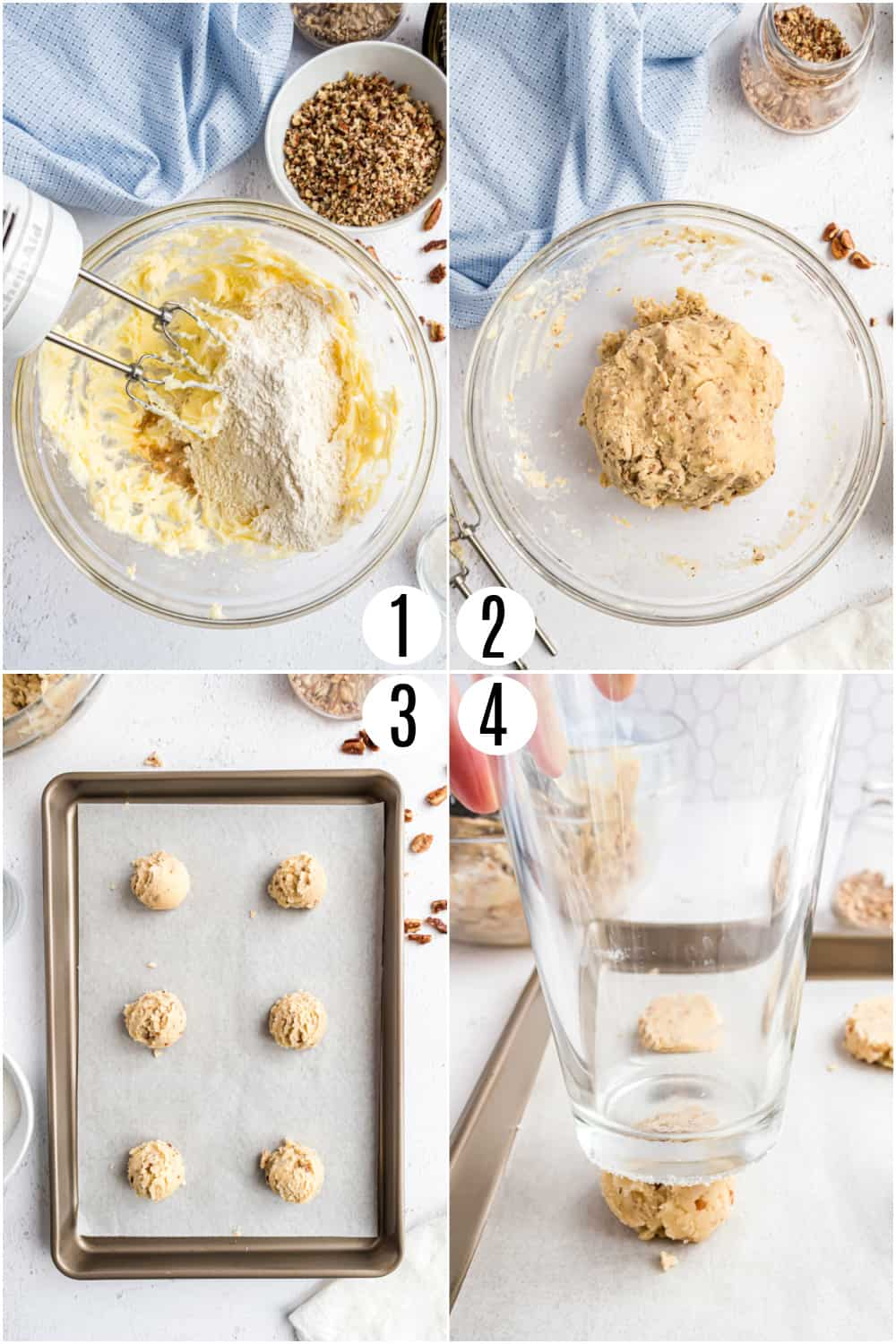 Step by step photos showing how to make pecan sandies.