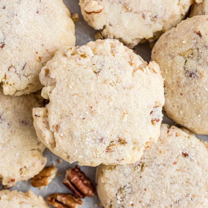 Light and crumbly Pecan Sandies may look simple but don't let that fool you; these easy-to-make cookies are filled with irresistible buttery pecan flavor. You won't be able to eat just one!