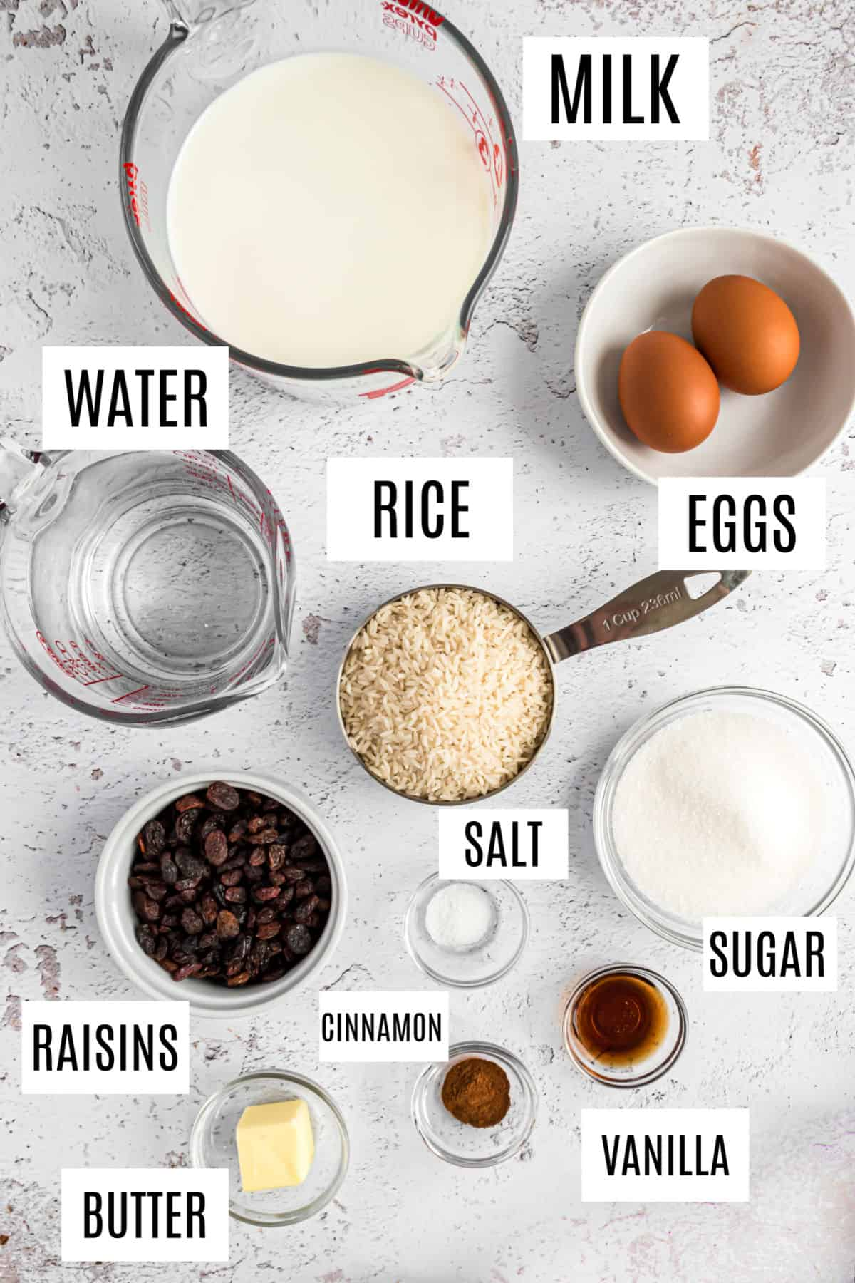Ingredients needed for rice pudding.