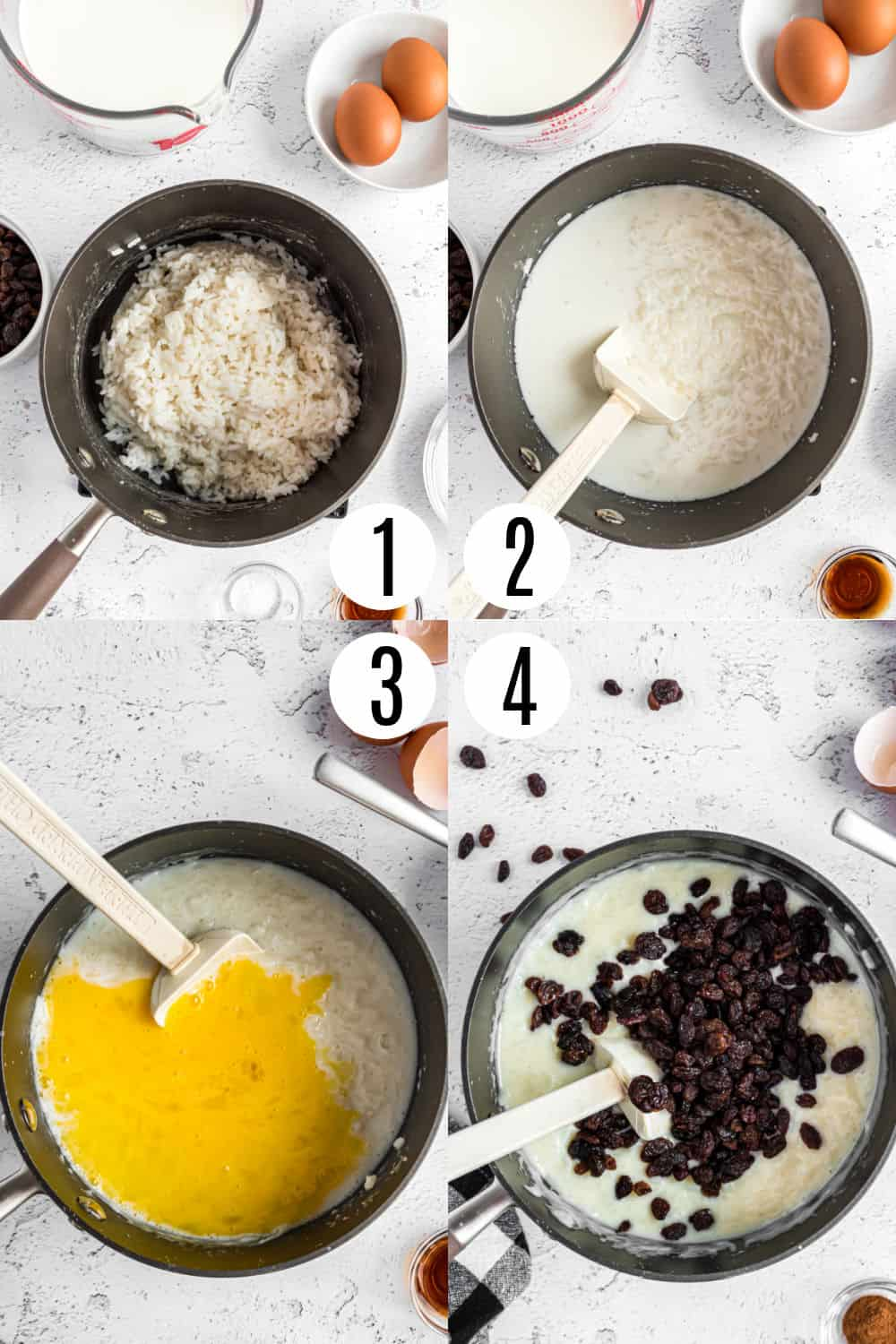 Step by step photos showing how to make rice pudding on the stove top.