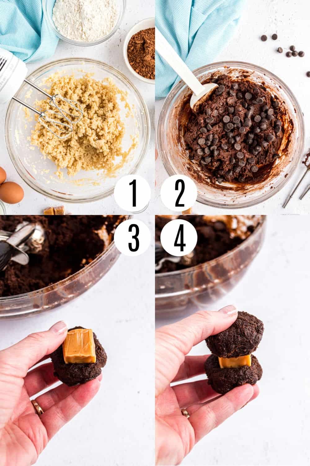 Step by step photos showing how to make salted caramel chocolate cookies.