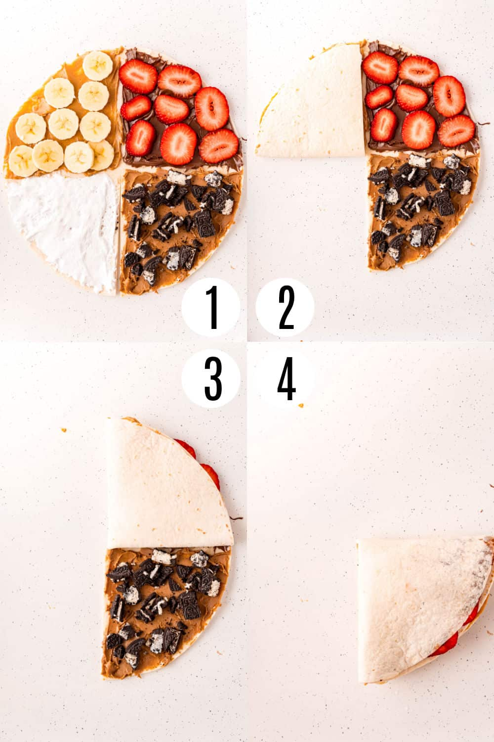 Step by step photos showing how to cut and fold a tortilla wrap.