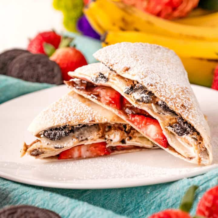 Tik tok inspired dessert tortilla wrap hack filled with nutella, peanut butter, and more!