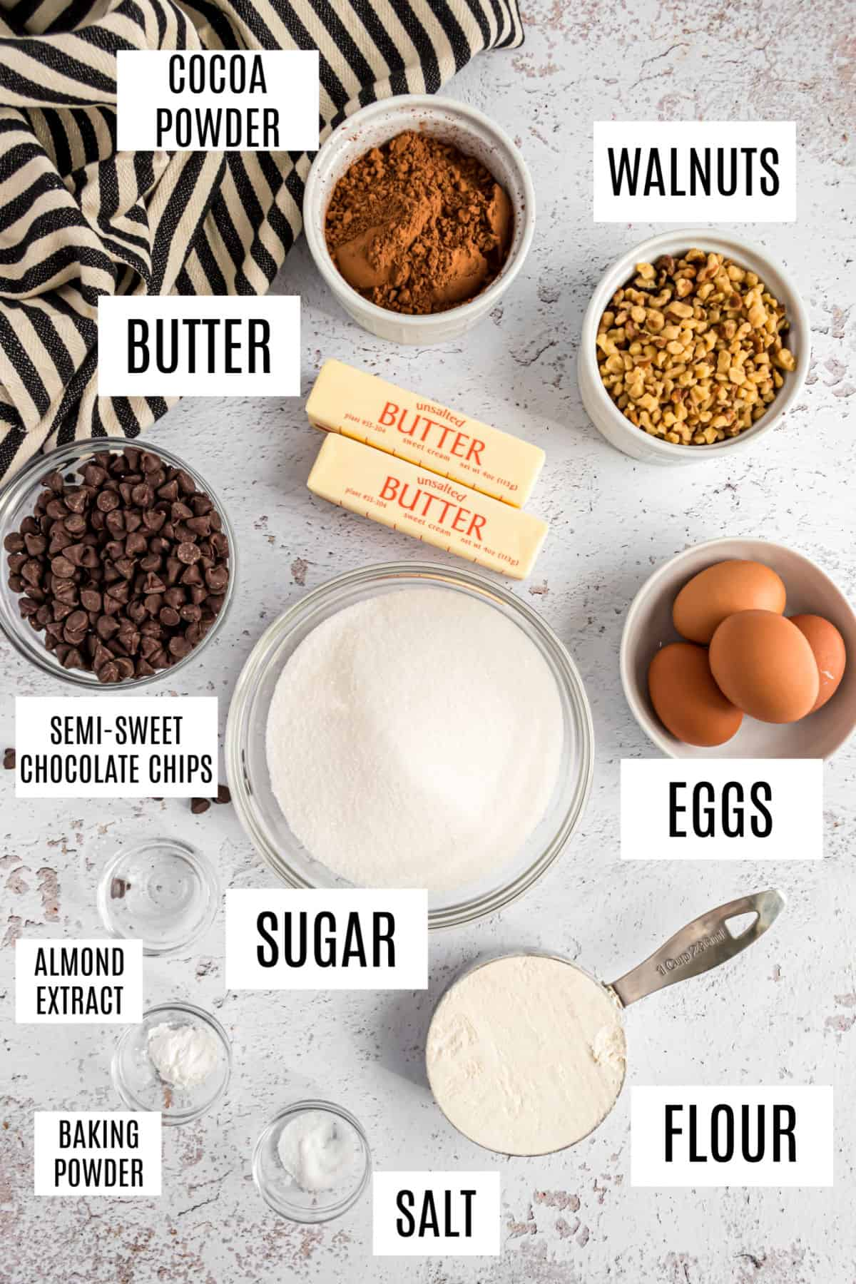 Ingredients needed for walnut brownie recipe.