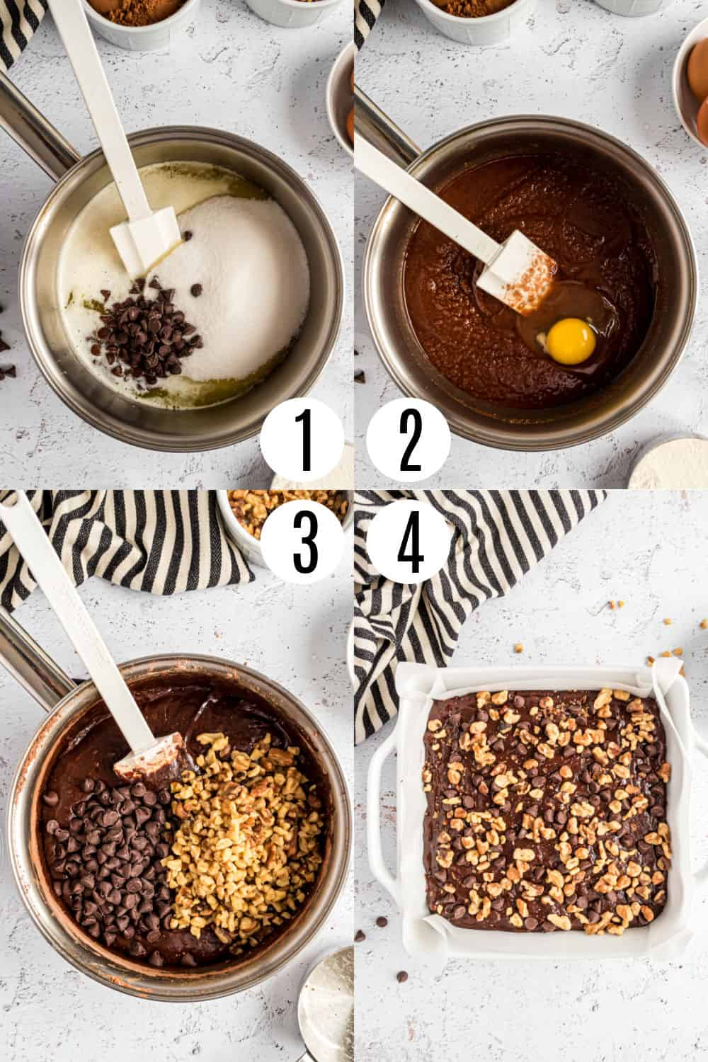 Step by step photos showing how to make walnut brownies.