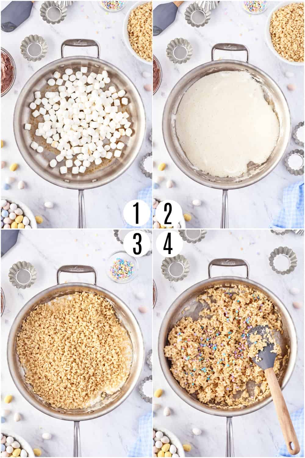 Step by step photos showing how to make rice krispie treats for easter.