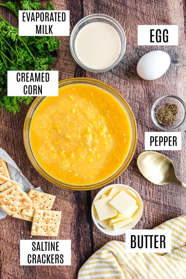 Ingredients needed to make creamed corn casserole.