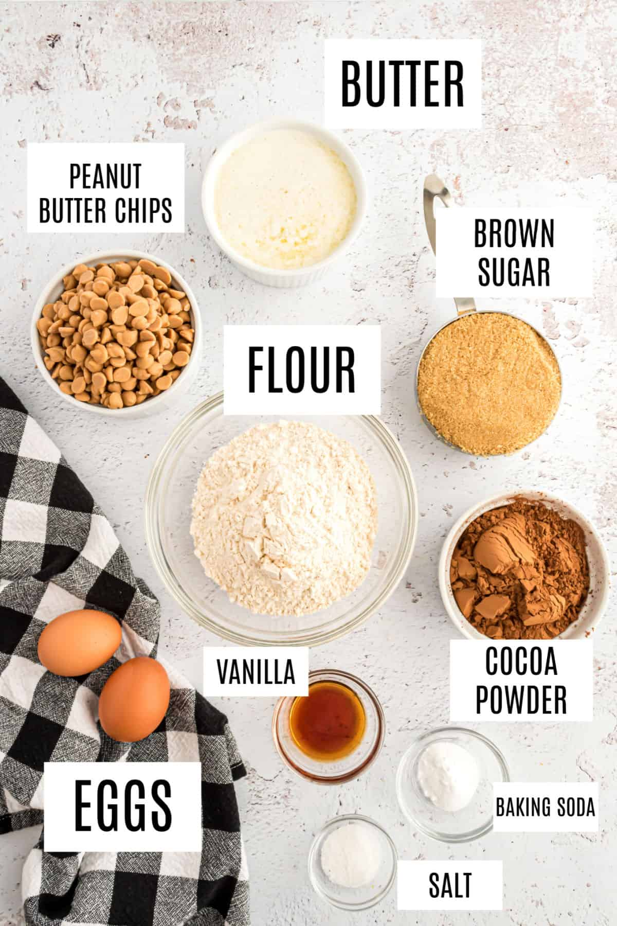 Ingredients needed for chocolate peanut butter chip cookies.