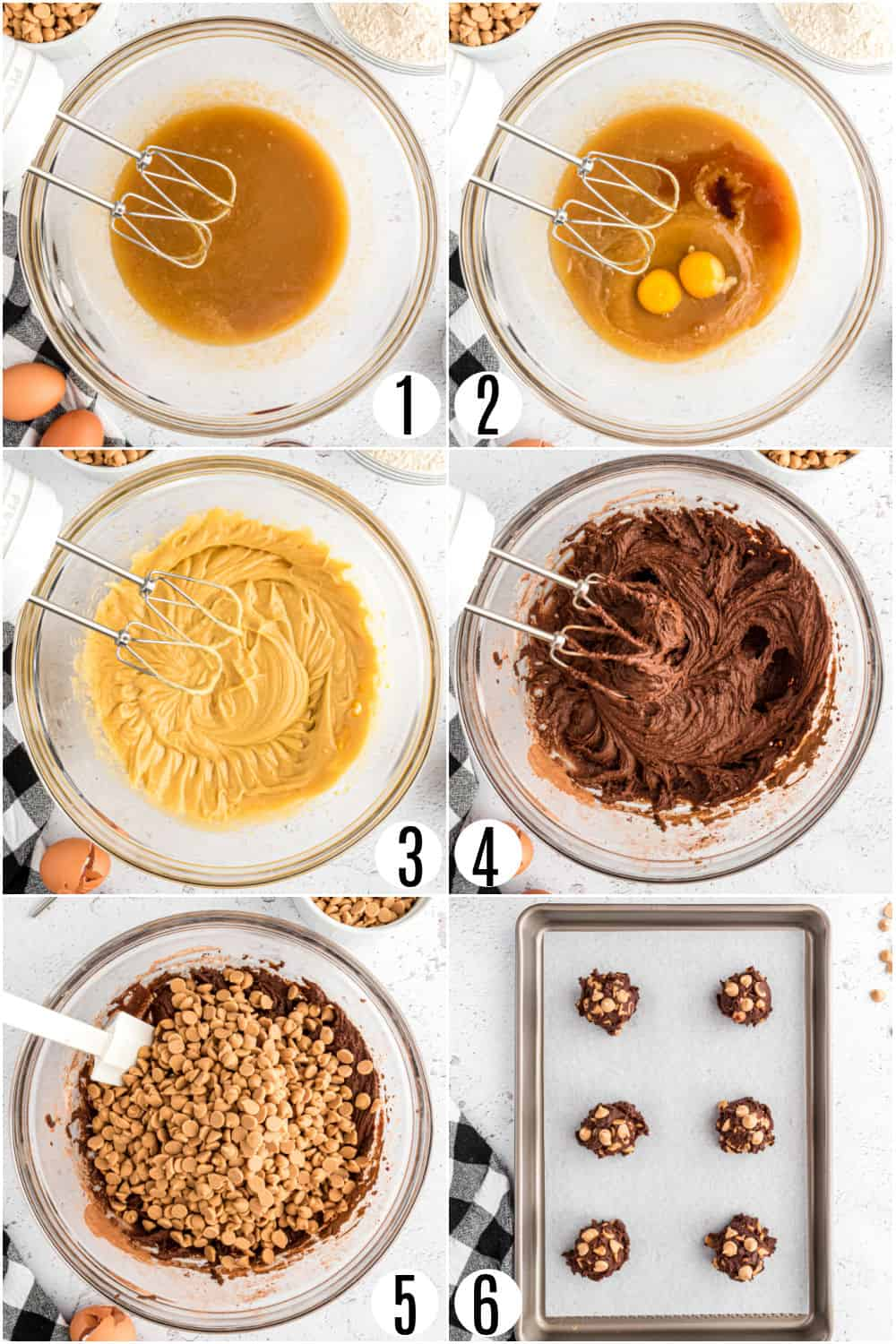 Step by step photos showing how to make chocolate peanut butter cookies.